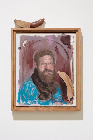 »The trick with the powdered face - stare off with a fly watched by a Wurst« 2017, oil and car paint on wood, carved wood sausage, 67 x 52 x 5 cm